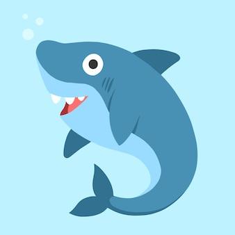 Flat design baby shark in cartoon style