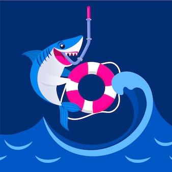 Плоский дизайн концепция акула ребенка