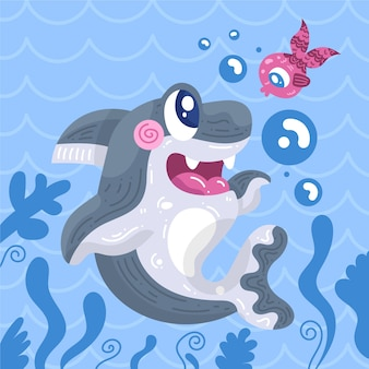 Flat design baby shark and fish