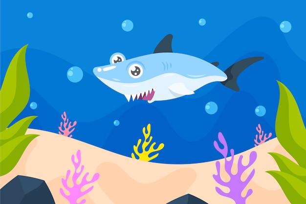 Плоский дизайн акула иллюстрированный дизайн