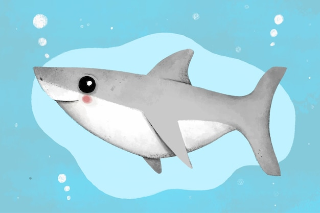 Flat design baby shark illustrated