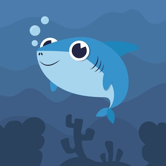 Flat design baby shark illustration concept