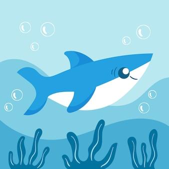 만화 스타일의 평면 디자인 아기 상어