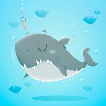 漫画のスタイルでフラットデザイン赤ちゃんサメ