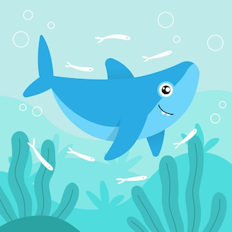 Flat design baby shark and little fish
