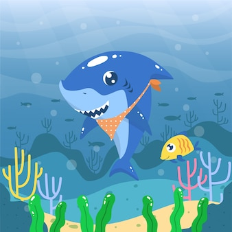 Flat design baby shark with bandana