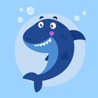 Flat design baby shark