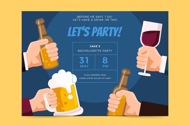 フラットデザインの独身パーティーの招待状