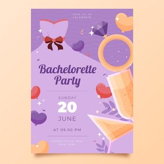 Flat design bachelorette party invitation