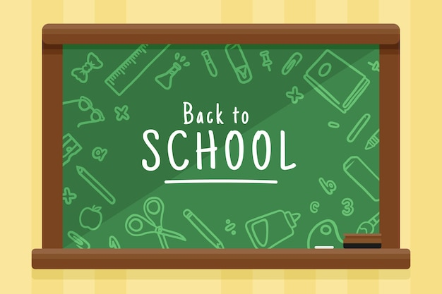 Flat design back to school background with blackboard