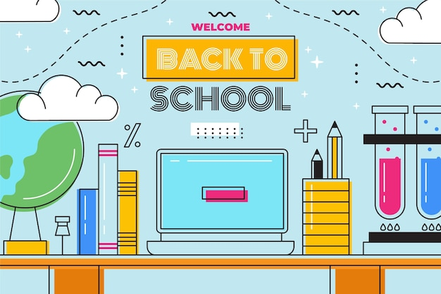 Flat design back to school background with desk