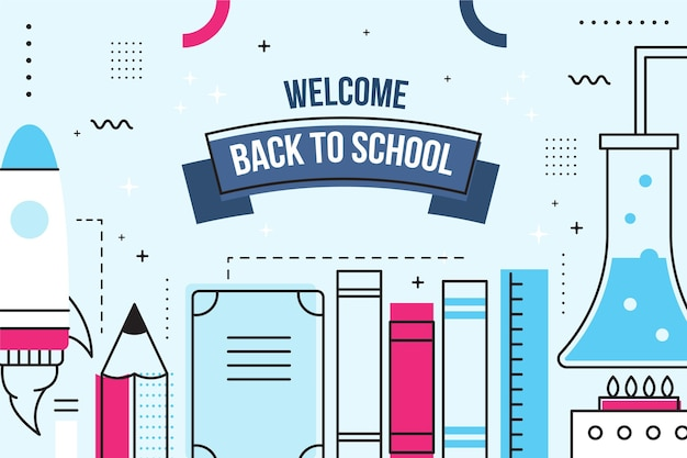 Flat design back to school background with elements