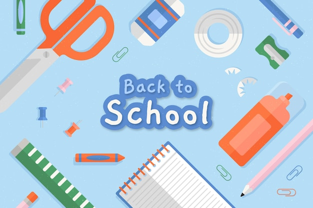 Flat design back to school background with stationery