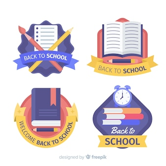 Flat design back to school badge collection