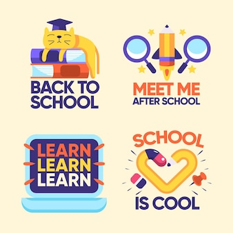 Flat design back to school badges collection