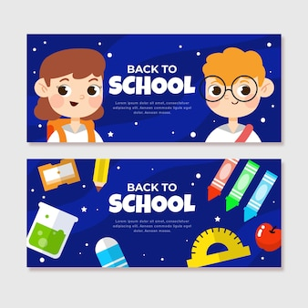 Flat design back to school banners pack