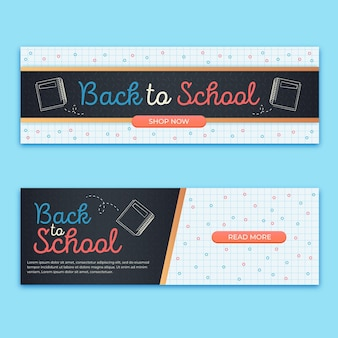 Flat design back to school banners set