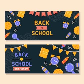 Design piatto torna al modello di banner di scuola