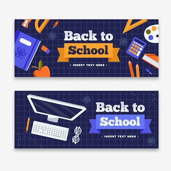 Flat design back to school banners template