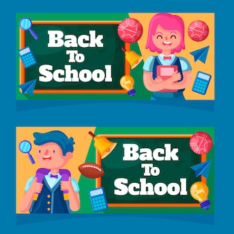Flat design back to school banners