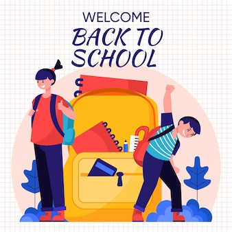 Flat design back to school concept