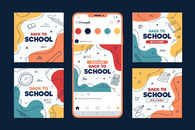 Flat design back to school instagram post collection