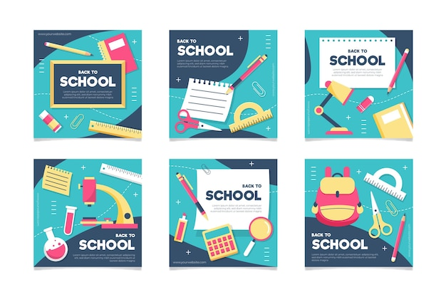 Flat design back to school instagram posts collection