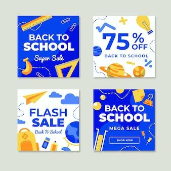 Flat design back to school instagram posts pack