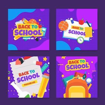 Flat design back to school instagram posts set