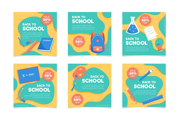 Flat design back to school instagram posts