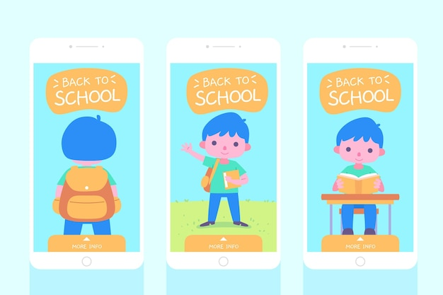 Flat design back to school instagram stories collection