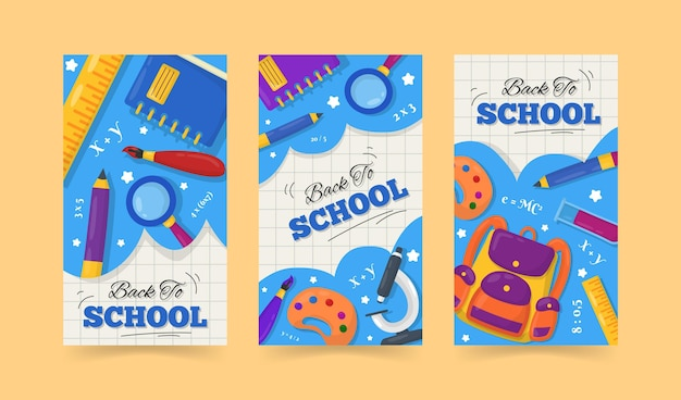 Flat design back to school instagram stories pack