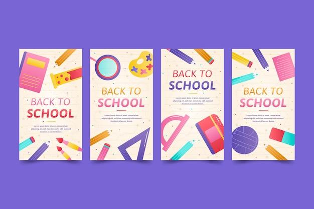 Flat design back to school instagram stories