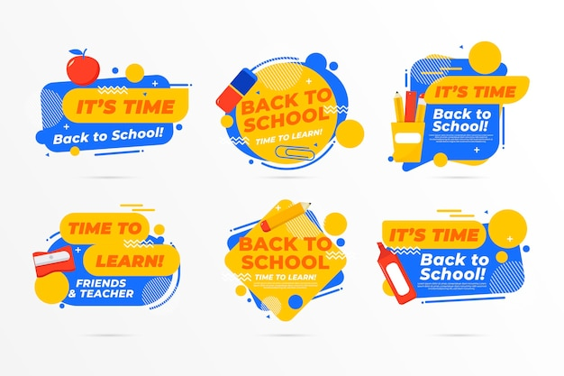 Flat design back to school label collection