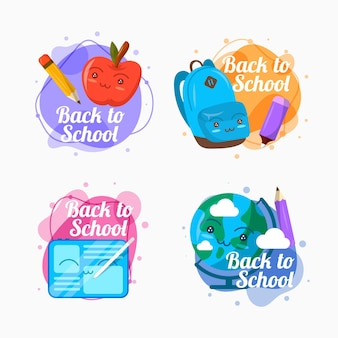 Flat design back to school labels collection