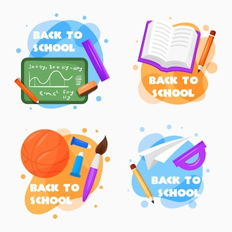 Flat design back to school labels set