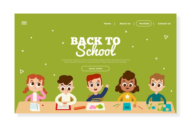 Flat design back to school landing page template