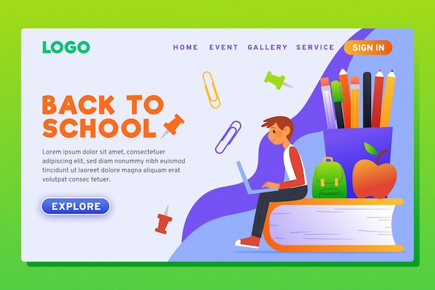 Flat design back to school landing page