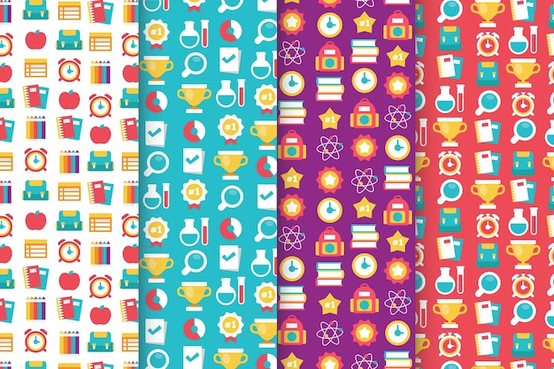 Flat design back to school pattern collection