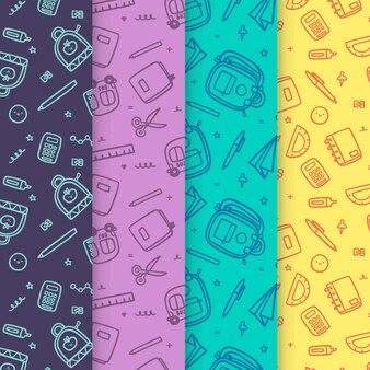 Flat design back to school pattern theme