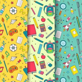 Flat design back to school patterns set