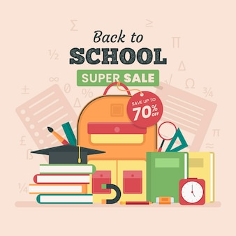 Flat design back to school sales concept