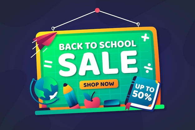 Flat design back to school sales concept