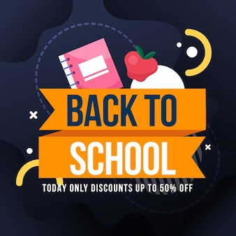 Flat design back to school sales