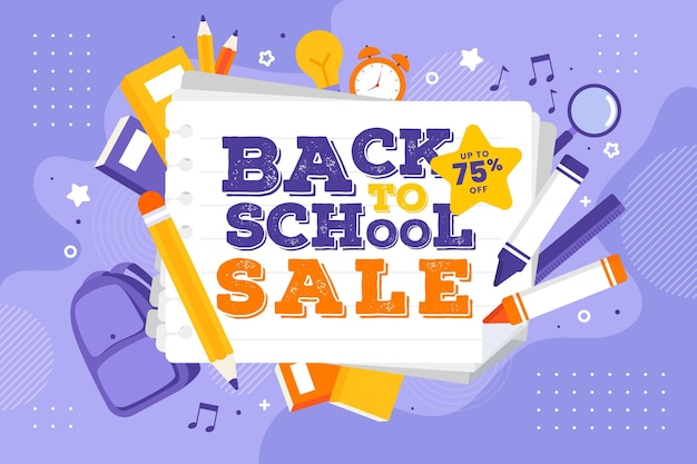 Flat design back to school sales