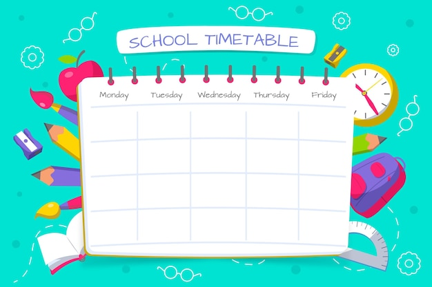 Flat design back to school schedule