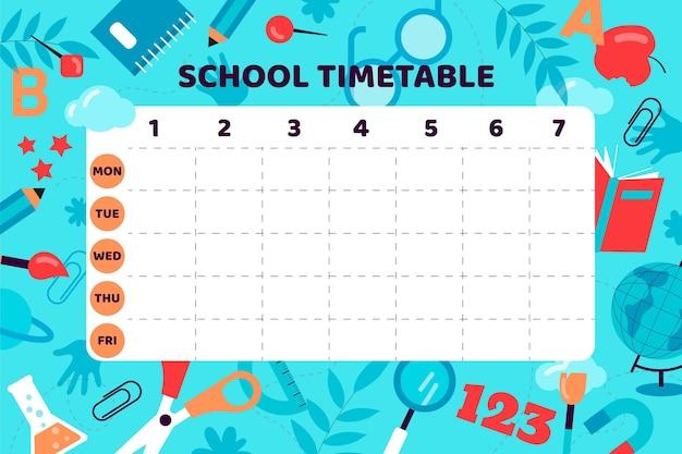 Design piatto torna al modello di orario della scuola