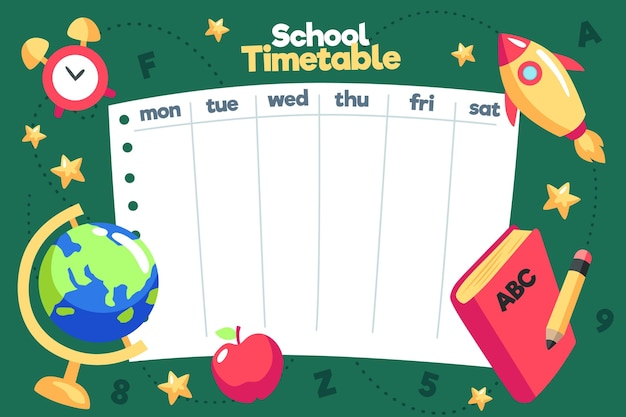 Flat design back to school timetable template