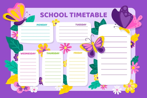 Flat design back to school timetable with butterflies