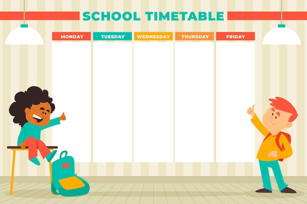 Flat design back to school timetable with kids